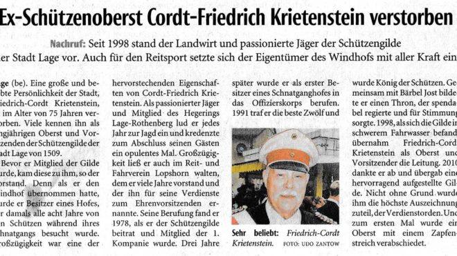 Pressebericht Nachruf Oberst F.C. Krietenstein (LZ)