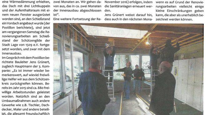 Pressebericht Umbau am Schießstand (Postillon)
