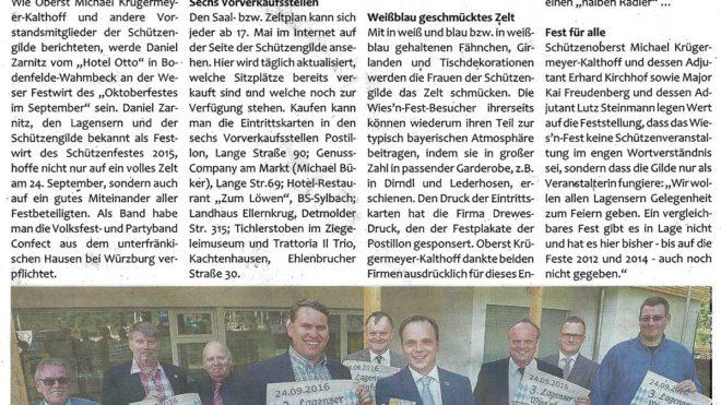 Pressebericht Wies'nfest 2016 Kartenvorverkauf (Postillon)