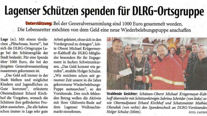 Pressebericht Spende an DLRG (LZ)