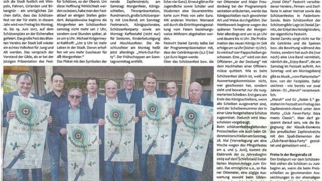 Pressebericht Plakate fürs Schützenfest (Postillon)