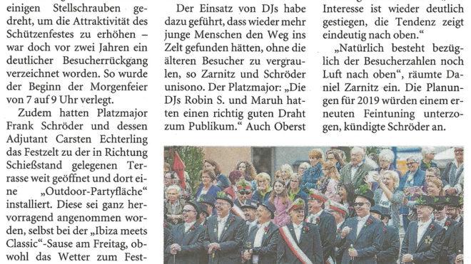 Pressebericht Bilanz Schützenfest 2017 (LZ)