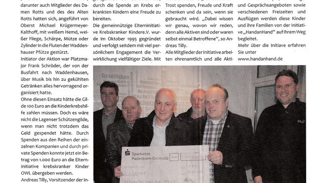 Pressebericht (Postillon) Gilde spendet an Kinderkrebshilfe