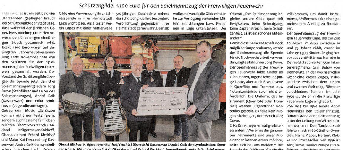 Pressebericht (Postillon) Gilde spendet an Feuerwehr